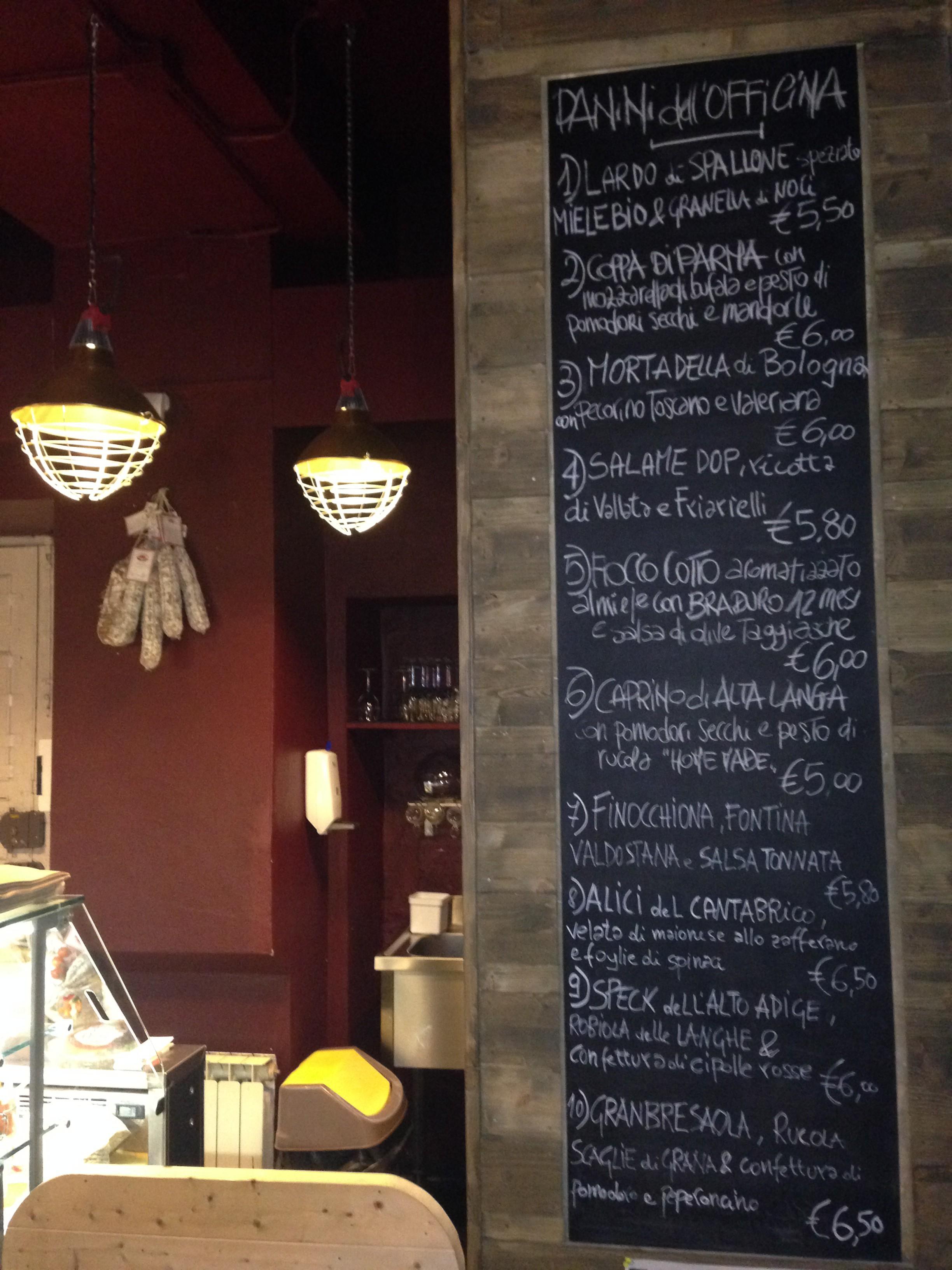 La lista degli ottimi panini delle Officine Panino, molti dei quali con salumi Vecchio Varzi