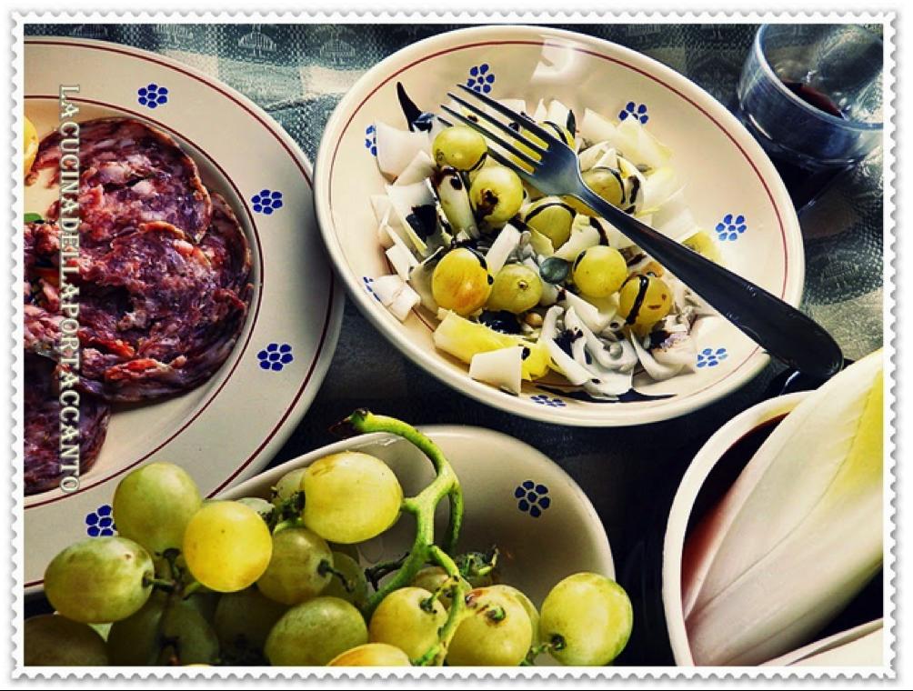"""Un Nuovo Contributo De """"La Cucina Della Porta Accanto"""": Salame Cucito Vecchio Varzi, Insalata Belga E Uva Condita Con Lime"""